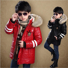 2016 new children's clothing boys jacket coat Children thick warm lamb's wool coat big virgin leather long section Hooded Padded