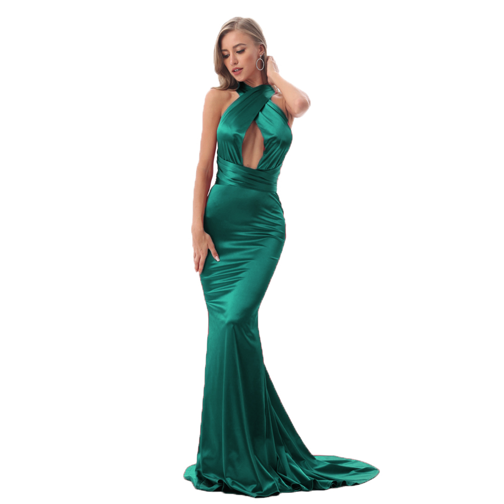 Sexy Shiny Grüne Meerjungfrau Maxi Kleid Satin Bodycon Open Back Lange  Bodenlangen Backless Krawatte Trägern Ärmellose Party Kleid
