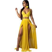 681db1d31f0 Two Piece Bohemian Chiffon Dress Sexy Spaghetti Strap Deep V Neck Crop Top  High Slit Maxi Summer Casual Beach Dresses Vestidos