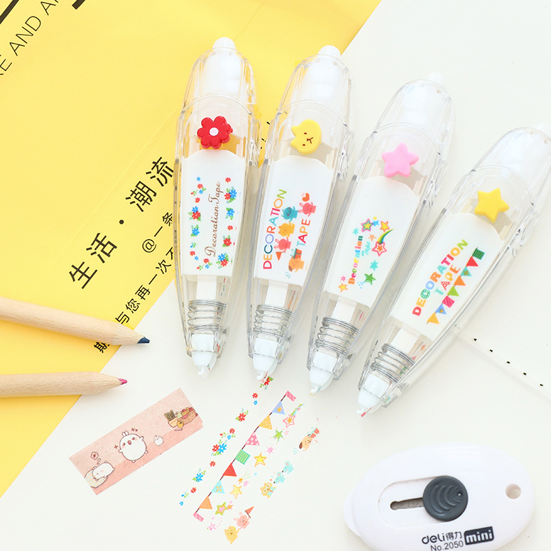 Flower masking stickers Cute designs correction tape Decorative adhesive tapes scrapbooking decoration School supplies F755 15 pcs lot cloth adhesive tape masking japanese tape cotton decorative scrapbooking stickers novelty school supplies