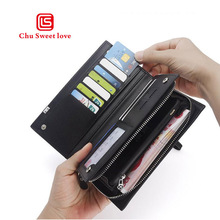 Casual Men's Wallet PU Leather Business Wallet Long Zipper Wallet Large Capacity Design Wallet Clutch Purse Multi-Function Card цена в Москве и Питере