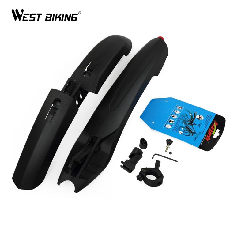 WEST BIKING Bicycle <font><b>Fender</b></font> with LED Light Mountain Cycling Front Rear Bicycle Durable <font><b>Fenders</b></font> With LED Light Plastic Bike <font><b>Fender</b></font>