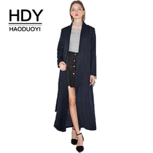 HDY Haoduoyi Office Lady Elegant Navy Blue Women Belt Adjustable Waist Female Cotton Cashmere Outwears Solid Coats Trench