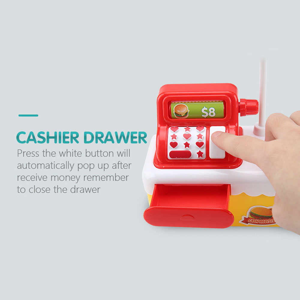 with Doll Hamburger Checkout Cash Register Toy Hamburger Play House Toy Cashier
