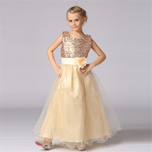 High quality Lace Girl Dresses Children Dress Sequined Princess Dress Length to Floor Baby Girl Wedding Dress Birthday Costume