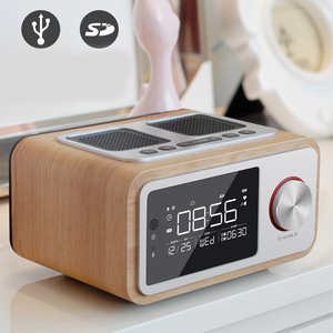 Image 3 - LEORY عن سمّاعات بلوتوث Fm راديو بساعة منبه MP3 سطح منزل خشبي اللاسلكية الموسيقى لاعب 2500mah اللغة القوية