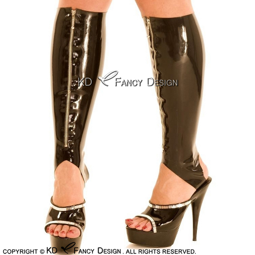 Black Sexy Latex Stockings With Cutting Feet With Front Zipper Long Rubber Stocking WZ-0037