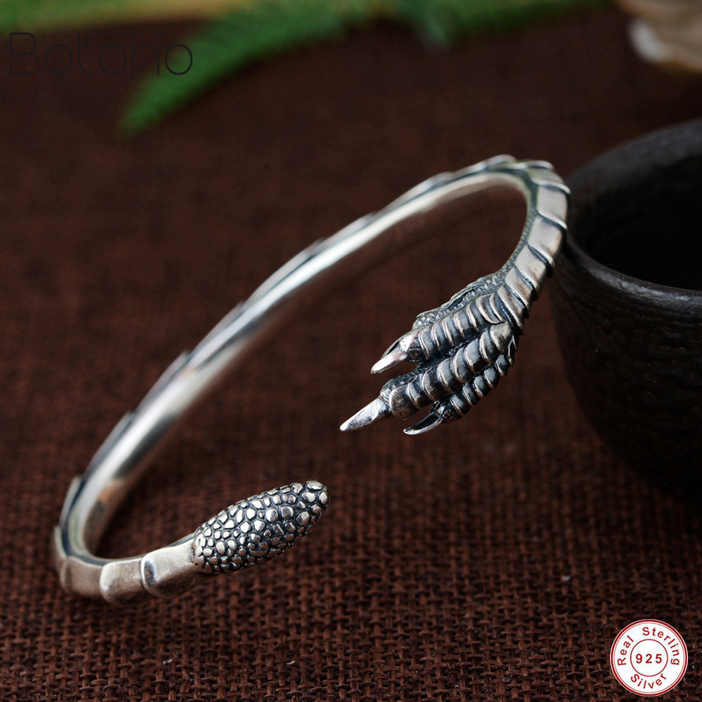 Handmade 100% 925 Silver Eagle Bracelet Snake Cuff Bracelet Pure Silver Man and women Bracelet New Eagle Claw Bracelet 2019 newHandmade 100% 925 Silver Eagle Bracelet Snake Cuff Bracelet Pure Silver Man and women Bracelet New Eagle Claw Bracelet 2019 new