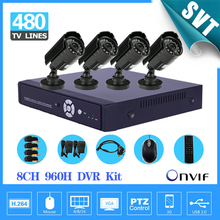 Fast Express 8 Channel cctv Security camera with DVR Recorder System 4pcs 480TVL Camera video Kit 960h NVR system SK-028