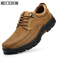 Men's Cow Leather Shoes Comfortable Genuine Leather Shoes Male Moccasins Lace up Brown Men Sneakers 6198m