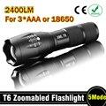 E17 CREE XM-L T6 2400 Lumens CREE levou tocha Zoomable CREE luz LED lanterna tocha para 3 xAAA ou 1 x 18650 frete grátis