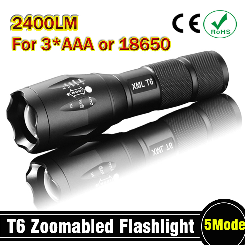 E17 CREE XM-L T6 2400Lumens cree led Torch Zoomable cree LED Flashlight Torch light For 3xAAA or 1x18650 Free shipping 3000 lumens zoomable cree xm l t6 led tactical flashlight torch zoom lamp light waterproof led 5 modes for 1x18650 3xaaa