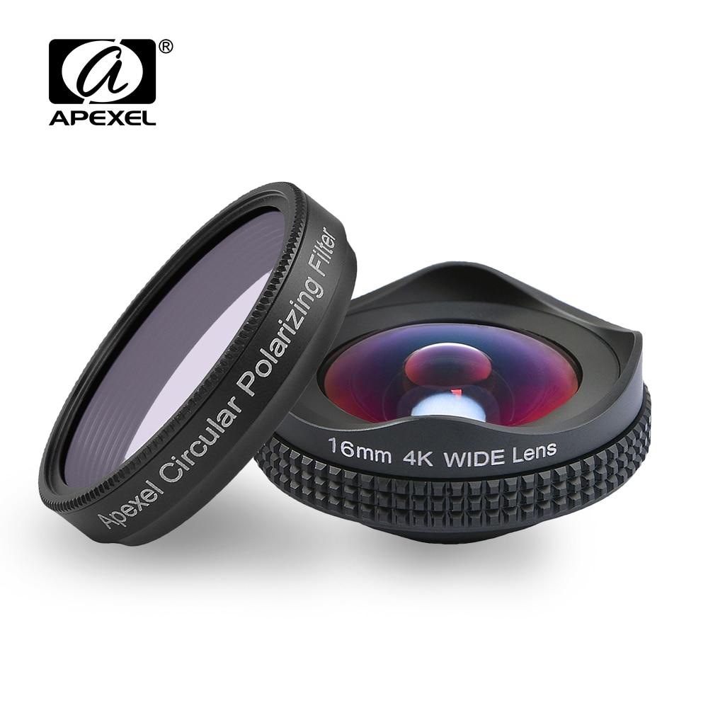 imágenes para APEXELProfessional 4 K Amplia lente Filtro polarizador circular 16mm HD súper lente gran angular para el iphone 6 s plus 7 HTC más teléfono