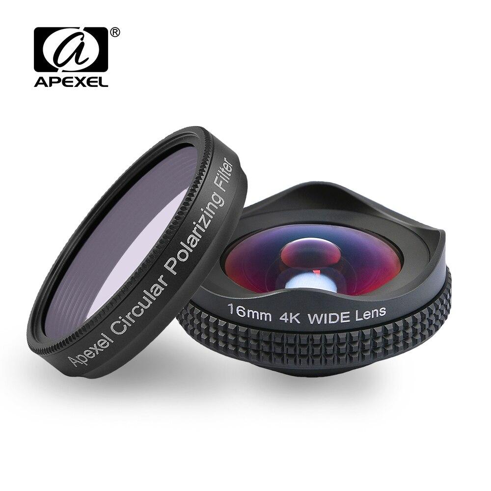 APEXELProfessional 4 K Large lentille circulaire polarisant Filtre 16mm HD super objectif grand angle pour iPhone 6 s plus 7 HTC plus téléphone