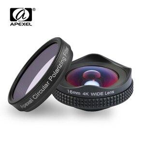 Image 1 - Apexelالمهنية 4K عدسة واسعة التعميم الاستقطاب تصفية 16 مللي متر HD سوبر زاوية واسعة عدسة آيفون 6s زائد 7 HTC أكثر الهاتف