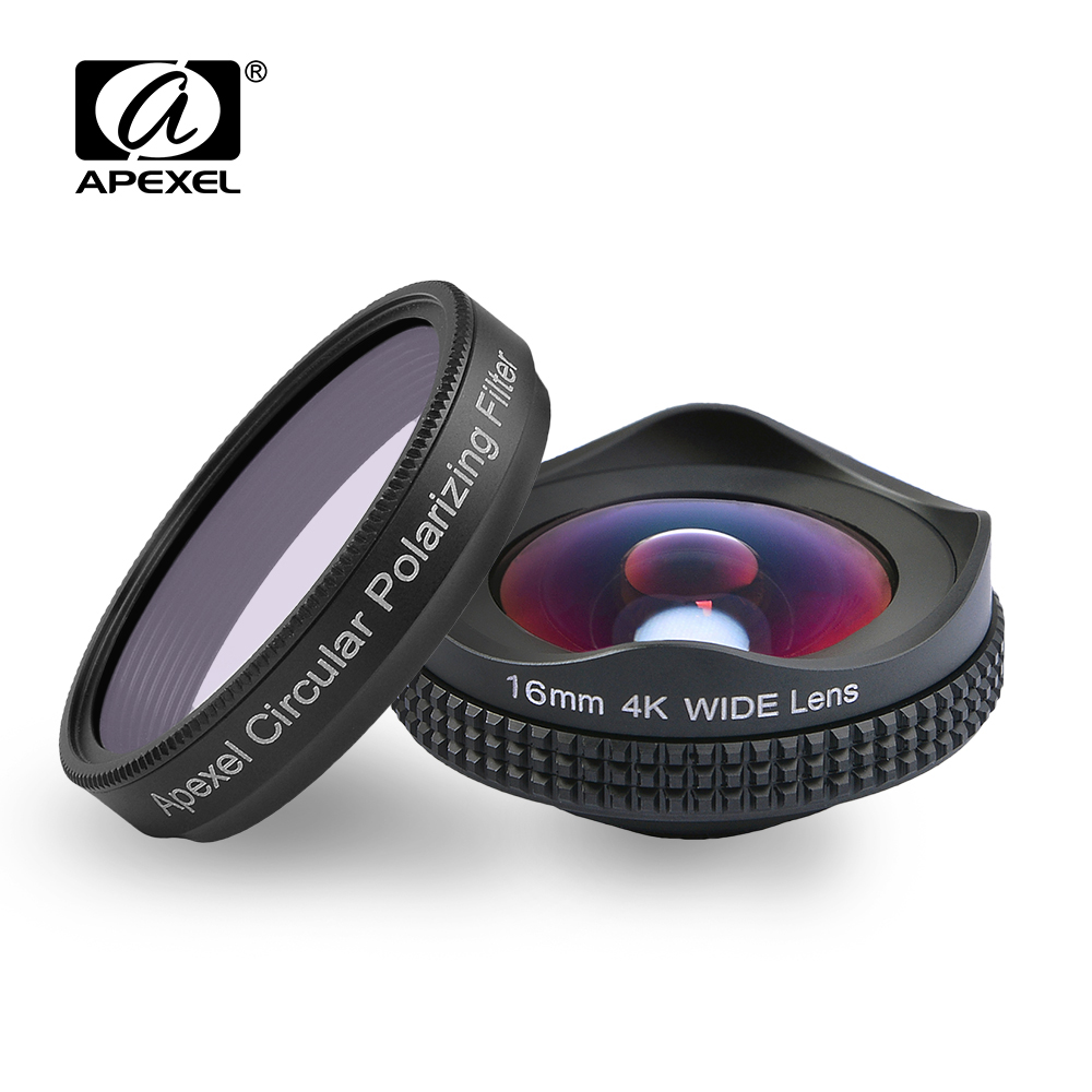 Apexelprofessional 4 K lente filtro Polarizador Circular 16mm HD lente Super gran angular para el iPhone 6 s más 7 HTC más teléfono