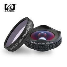Apexelprofessional 4 k 와이드 렌즈 원형 편광 필터 16mm hd 슈퍼 와이드 앵글 렌즈 for iphone 6 s plus 7 htc more phone