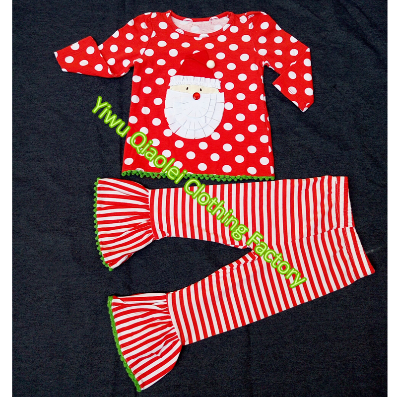 baby boutique clothing lovely christmas red santa claus top with polka dots ruffle clothing set wholesale boutique set