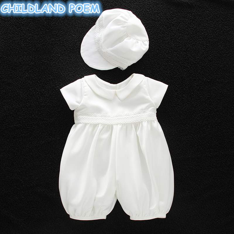 Baby Girl Baptism Gown Boys Christening Clothes 1st Birthday Party Wedding Baby Boy Clothes Dress Gentleman Baby Outfit With Hat