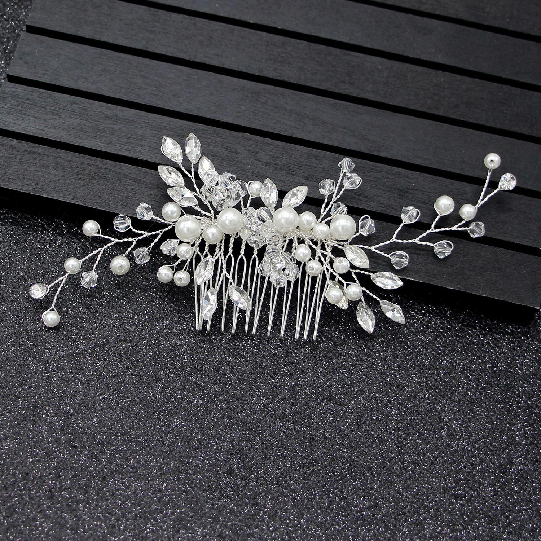 Silver Bridal Headwear Crystal Pearl Wedding Accessories Hair Combs Simple Elegant New Bridal Headpiece 2019