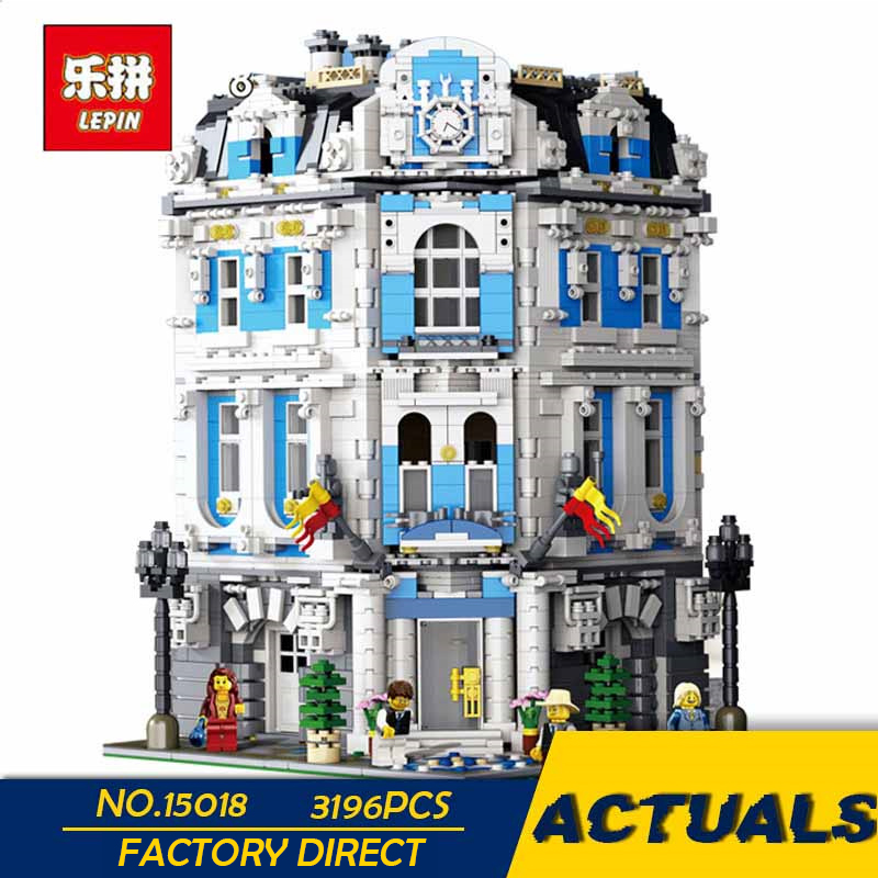 LEPIN 15018 3196pcs MOC City Series The Sunshine Hotel Set Building Blocks Bricks Educational Toys
