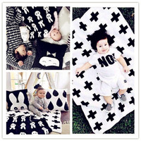 Baby Blanket Black White Cute Rabbit Swan Cross Knitted Plaid For Bed Sofa Cobertores Mantas BedSpread
