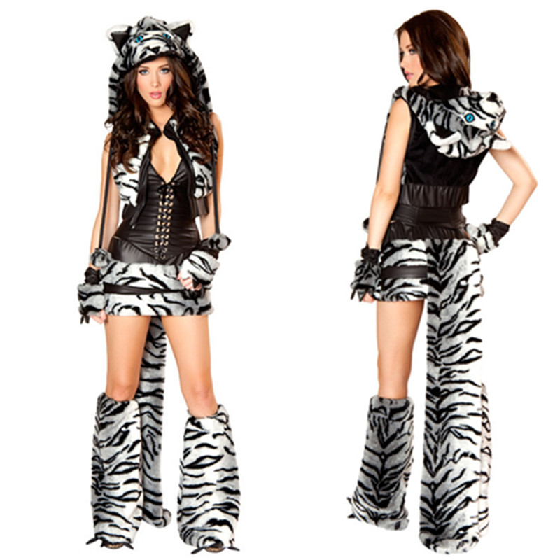 online shop 2017 new fashion sexy adult halloween women halloween deluxe white tiger costume cosplay fancy dress games uniforms aliexpress mobile - Halloween Fashion Games