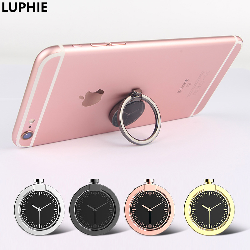 Clock Shape Cell Phone Finger Ring Holder Stand Luxury Hard Metal Adjustable 360 Degree Rotatable Foldable Stand for Smartphone