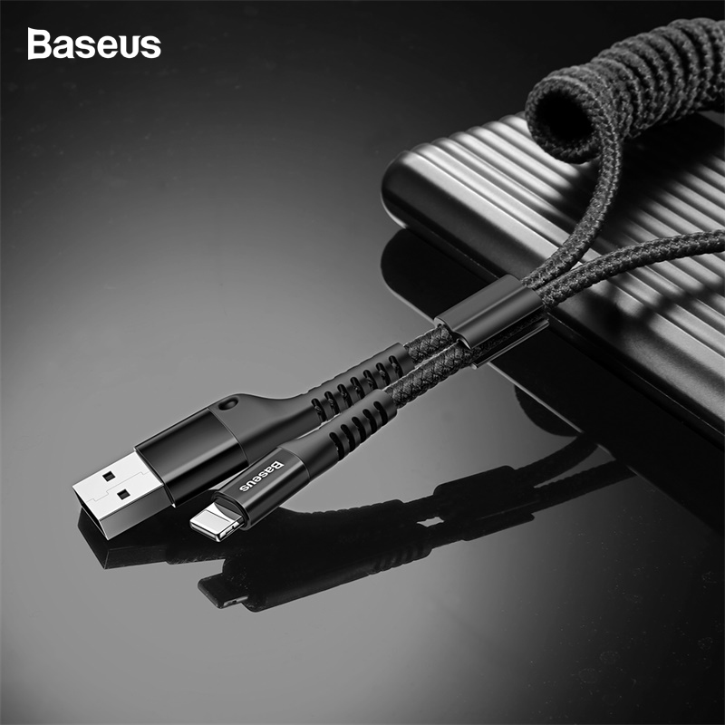 Baseus Flexible Spring USB Cable For iPhone XS Max XR X 8 7 6 5 5s se Cord Fast Car Charging Charger Retractable Cable Adapter-in Mobile Phone Cables from Cellphones & Telecommunications on AliExpress