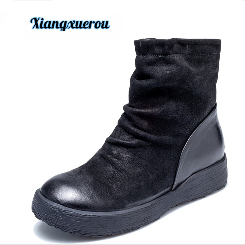 Xiangxuerou New autumn/winter 2018 round head ruffled Martin boots top layer leather leisure leather female short boots цена 2017