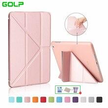 Case for iPad Mini 2/3,GOLP Smart PU Leather Multi-folding Magnetic Auto Sleep Cover translucent TPU back Case for iPad Mini 2/3