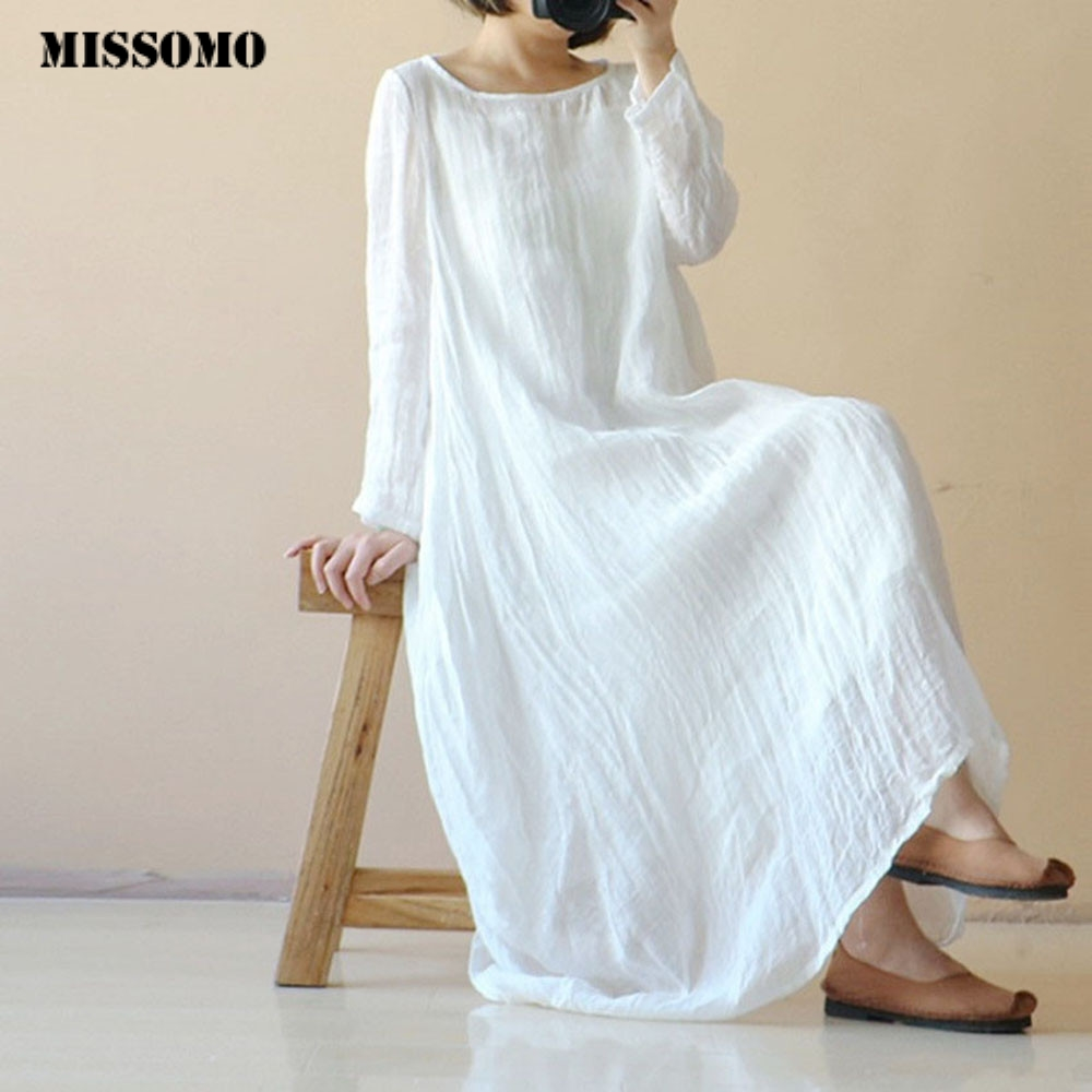 MISSOMO Linen Dress Women Casual Loose Beach Summer Dress White Long Dresse Ladies Long Sleeve Maxi Long Vestidos Plus Size 5XL
