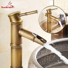 Neue Hauptdekoration Einzigen Handgriff Waschbecken Mischbatterie Vintage Bambus Bad Antique Wasserhahn Messing Heißer/Kaltem Wasser YS-005