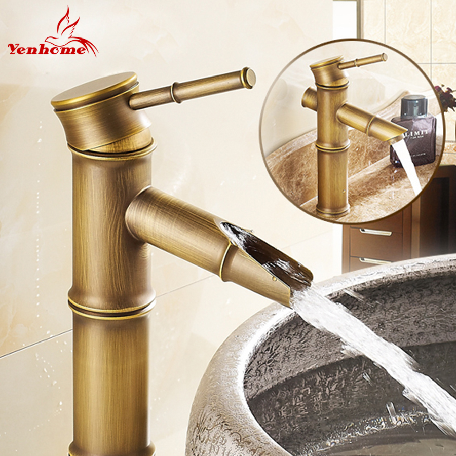 YenHome Bathroom Basin Faucet Vintage Bamboo Bath Sink Tap Home Decoration  Antique Mixer Bathroom Faucets Brass Hot / Cold Water
