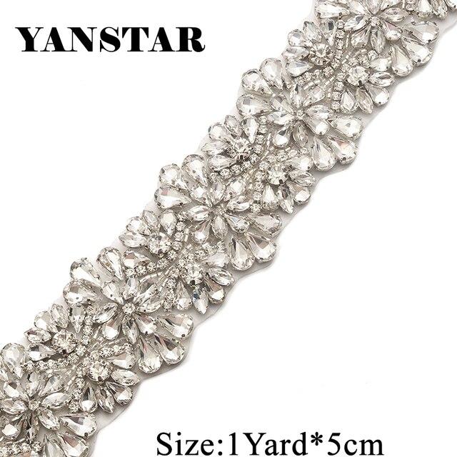 Yanstar Handmade 5.3CM 1Yard Applique Bridal Belt Accessory Trim For Wedding  Dress Sash YS820 0204663ef1f9
