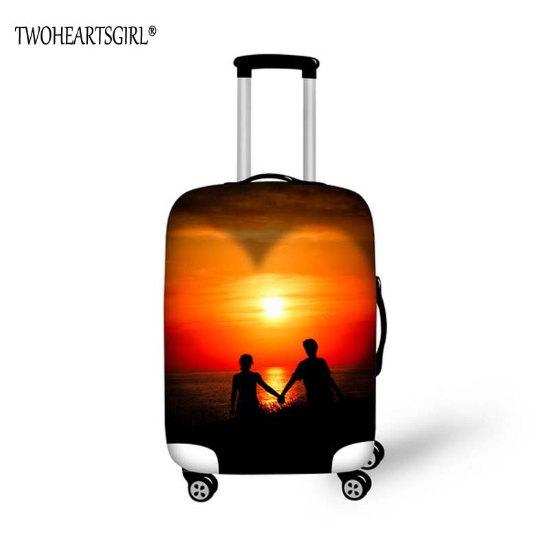 TWOHEARTSGIRL Love Designer 18-32 Inch Travel Suitcase Cover For Funny Pattern Elastic Luggage Protective Covers With Zipper