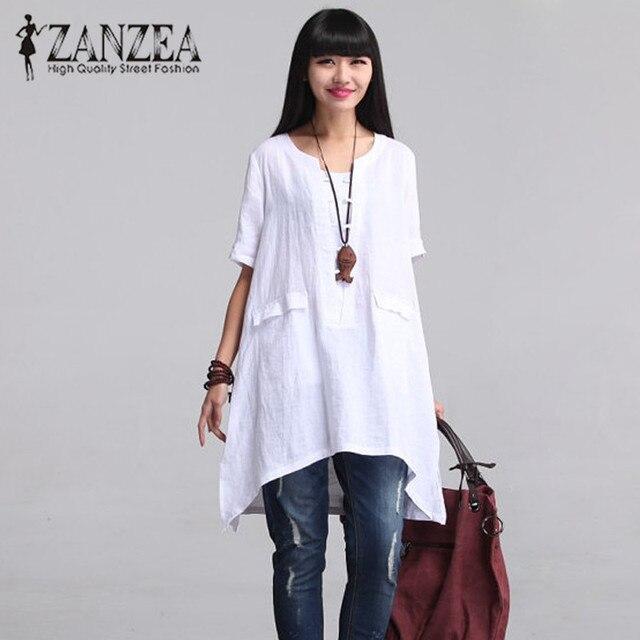 c5d01cdf2 Blusa de mujer ZANZEA cuello redondo manga corta bolsillos 2018 verano  Blusas negro blanco algodón camisa de lino asimétrica talla grande 5XL