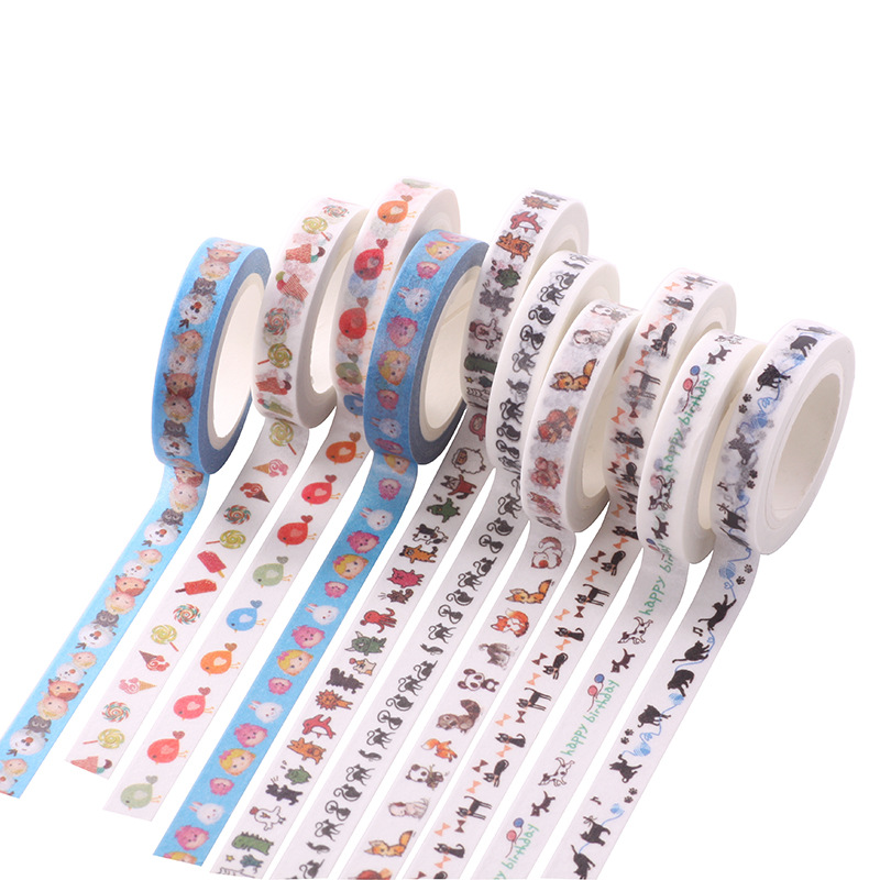 DIY Cartoon Animal Paper Washi Masking Tapes frame decorative adhesive tape stickers/School Supplies Size 8mm*7M