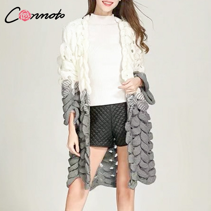 Conmoto New Trendy Cardigans Knitwear Sweater Harajuku Long Cardigans  Patchwork Casual Knitted Sweaters 2018-in Cardigans from Women s Clothing  on ... cfcc63ed9