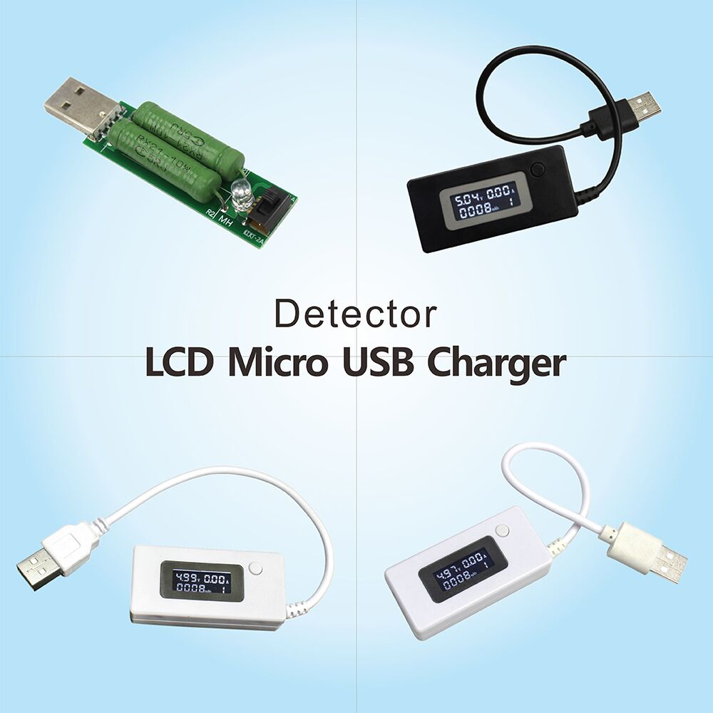 LCD Micro USB Charger Battery Capacity Voltage Current Tester Meter Detector Black/White Color + Load Resistor 2A/1A With Switch