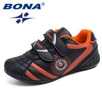 BONA Novo Típico Estilo Crianças Meninos Sapatos Casuais Sapatos de Corrida Ao Ar Livre Sneakers Hook & Loop Rápido Confortável Frete Grátis