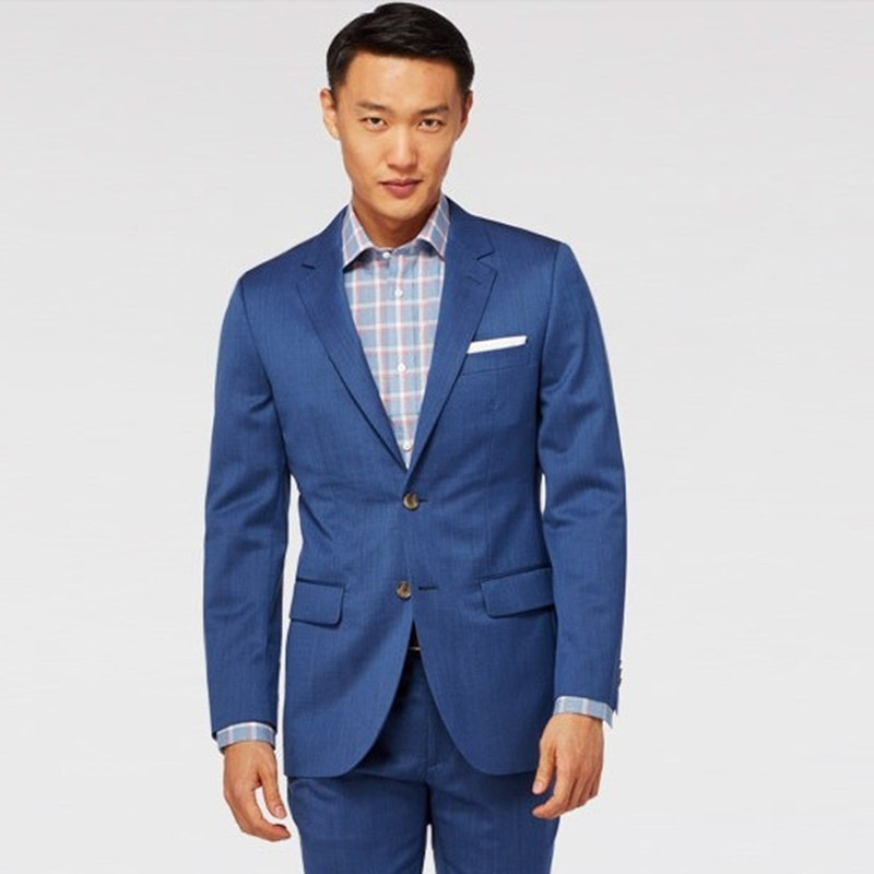 bespoke tuxedo for wedding groom wear blue custom made font b suit b font classic wool