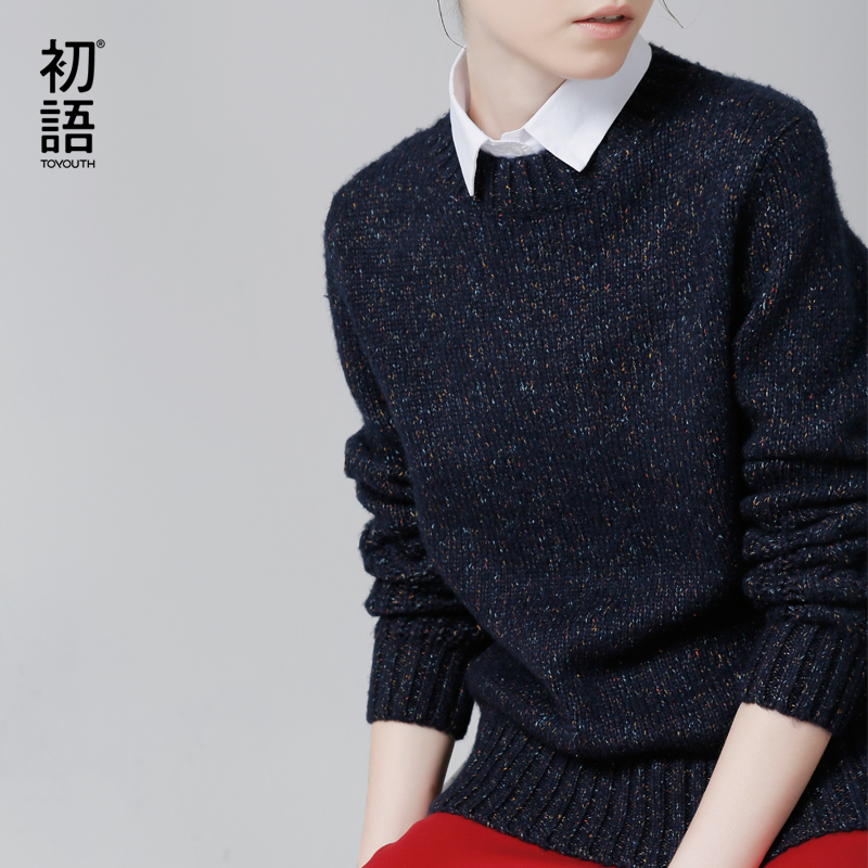 Toyouth Sweater Women Pullover Autumn Winter Solid Color Crew Neck Long Sleeve Elegant Knitted Sweaters