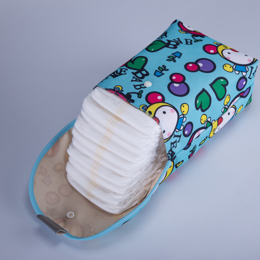 Diaper Backpack Wet-Bag Printed Double-Zippered Baby Waterproof New Reusable