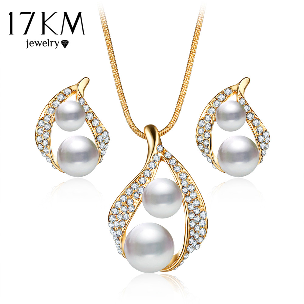 17km Bijoux Luxury Double Simulated Pearl Jewelry Set For Woman Fashion  Dubai Crystal Necklace Earrings Wedding