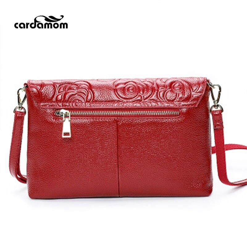 Cardamom Genuine Leather Women Shoulder Bags Flower Patten Cow Leather Messenger Bags For Women Zipper Single Strap Lady Handbag