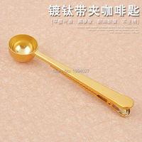 12pcs/lot kitchen gadgets tool fruit spoon stainless steel coffee spoon with bag clip Multifunction measuring Coffee spoon