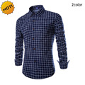 New2016 Spring Autumn Relaxed lattice floral grid Dress Shirt Men British Long Sleeve Shirts Camisa Masculina Brand Clothing