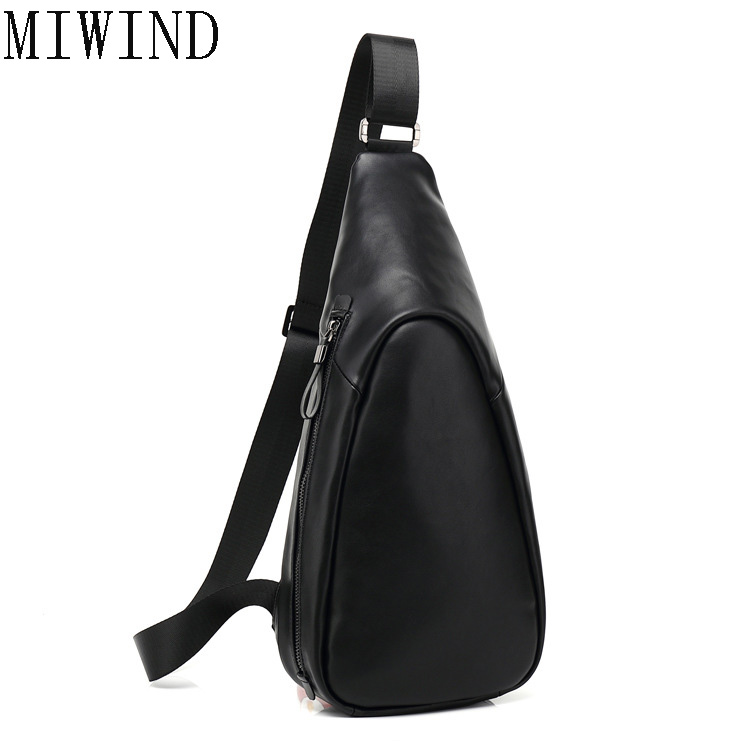 MIWIND High Quality Pu Leather Chest Bag for Men Crossbody Men's Messenger Bag Sling Male Shoulder Bag Large Capacity TZG688 2017 summer high capacity chest bag for men