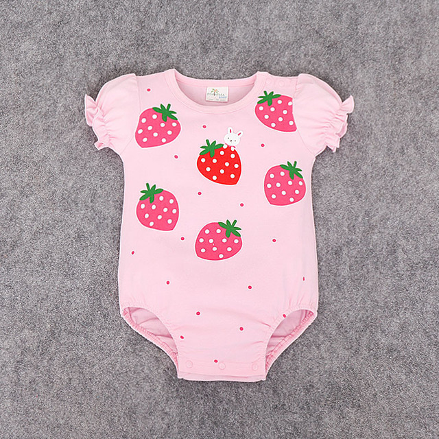 New baby Jumpsuit Romper Short Sleeve Car Strawberry Printed Baby Girl Bebe Clothing Set Body Suits